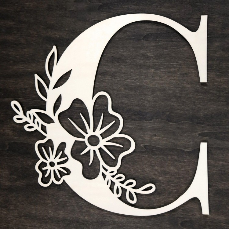 Initial floral wooden letter - C