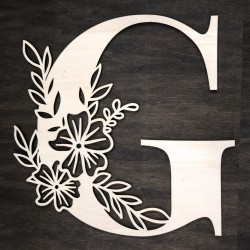 Initial floral wooden letter - G