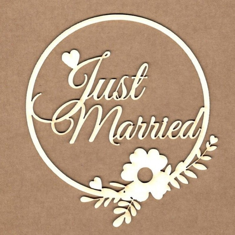 Chipboard - Framed text - Just Married