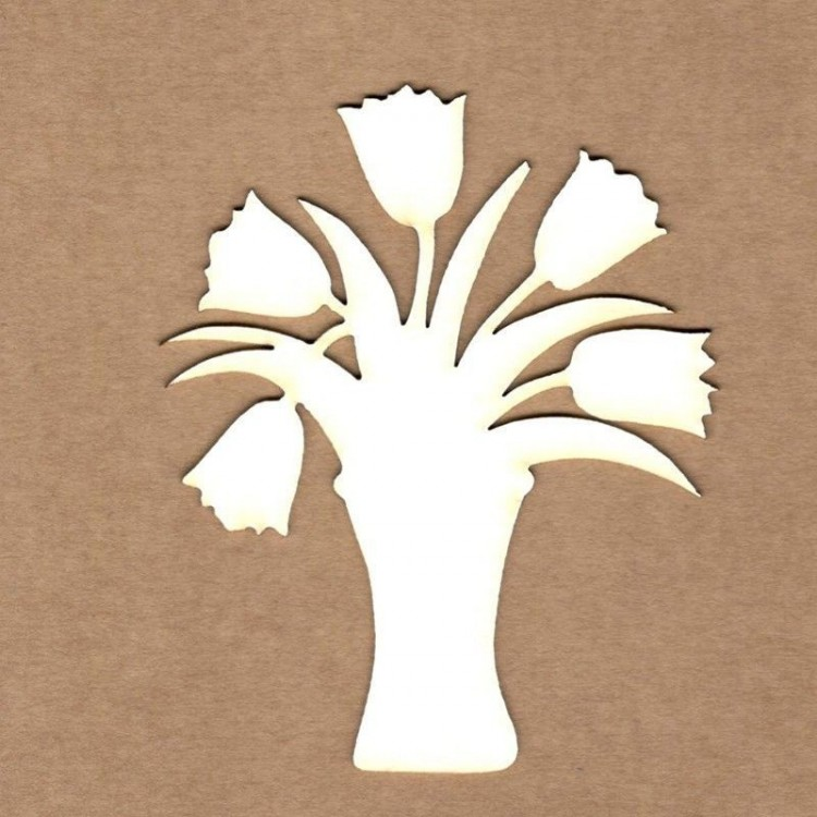 Chipboard - Vase with flowers