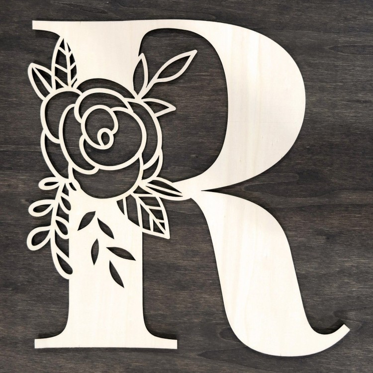 Initial floral wooden letter - R