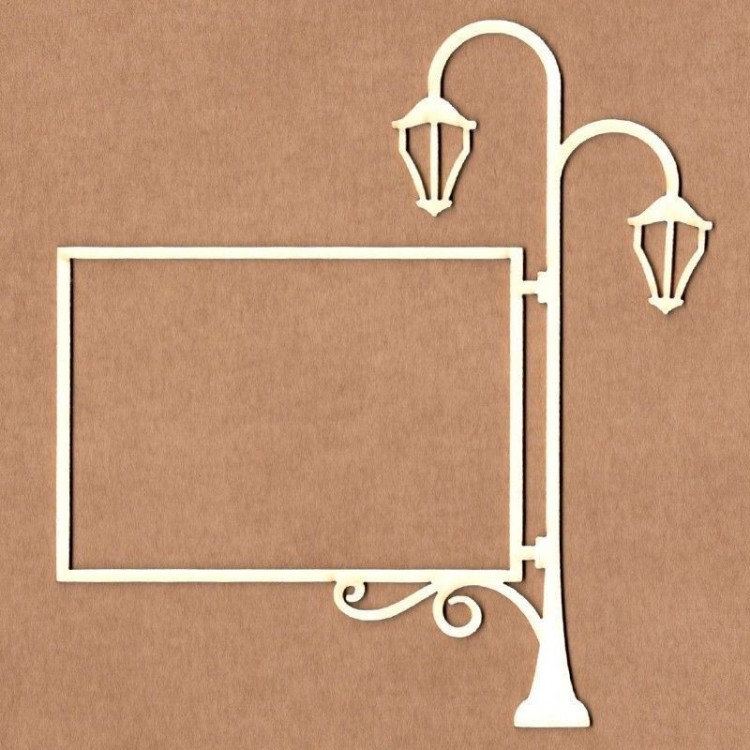 Chipboard - Double lamppost with rectangular frame