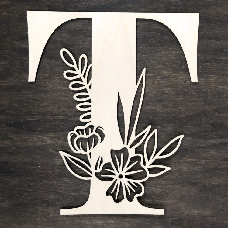 Initial floral wooden letter - T