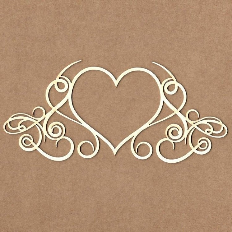 Chipboard - Calligraphic Heart Frame