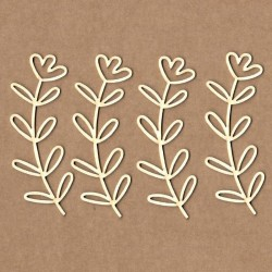 Chipboard - Olive branch with flower