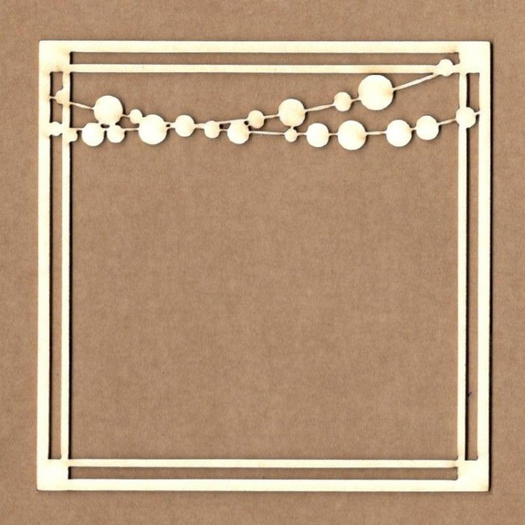 Chipboard - Square frame with garland