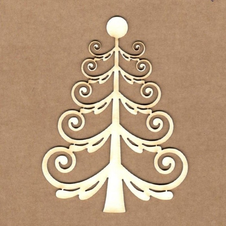 Chipboard - Curly Christmas Tree