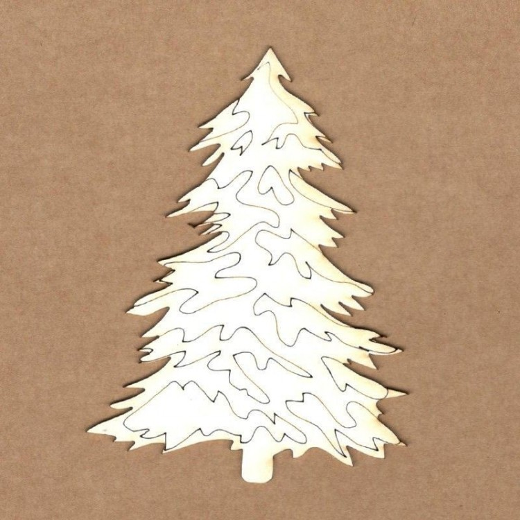 Chipboard - Christmas tree with snow