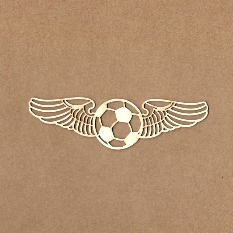Chipboard - Soccer ball with wings - small