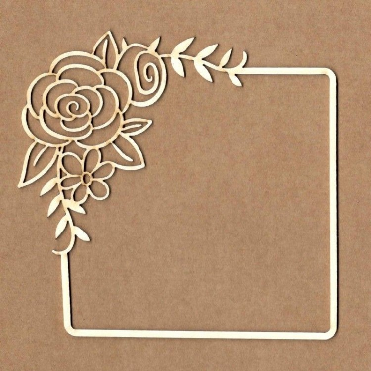 Chipboard - Square frame with rose