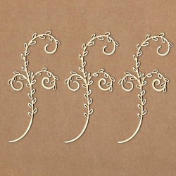 Chipboard - Branch with three curls