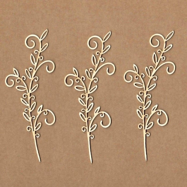 Chipboard - Branch with four curls