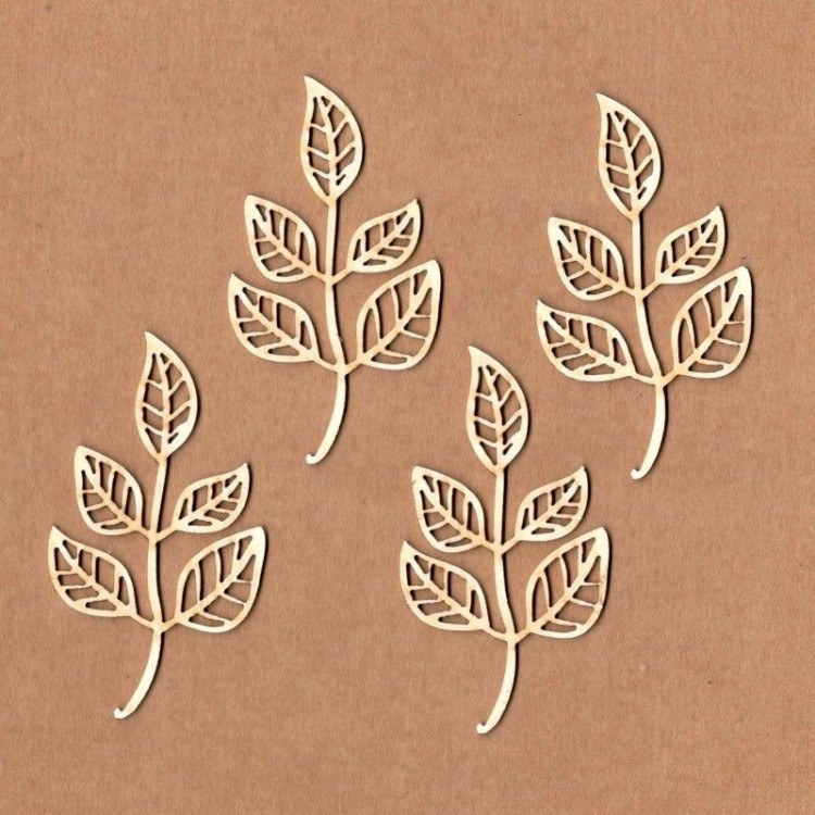 Chipboard - Branch with five leaves