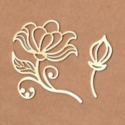 Chipboard - Flower with button