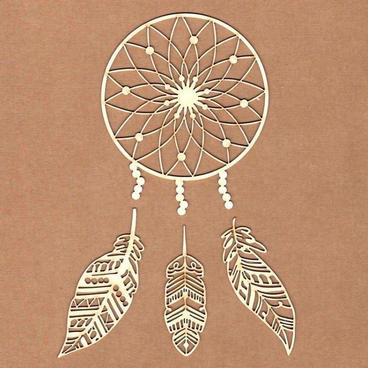 Chipboard - Dreamcatcher with feathers
