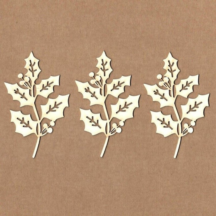Chipboard - Serrated branch with berries