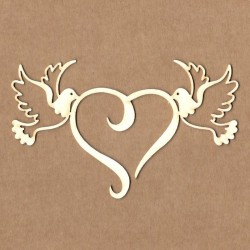 Chipboard - Pigeons with heart