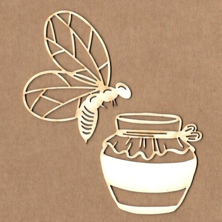 Chipboard - Bee with jar