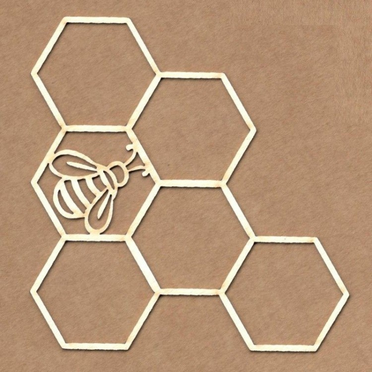 Chipboard - Honeycomb with bee