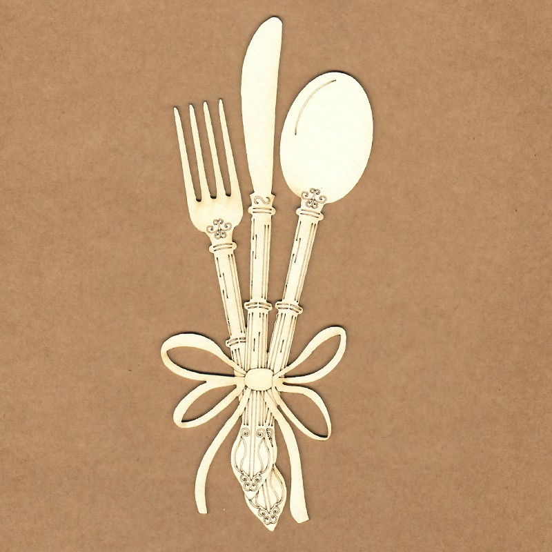Chipboard - Cutlery with bow