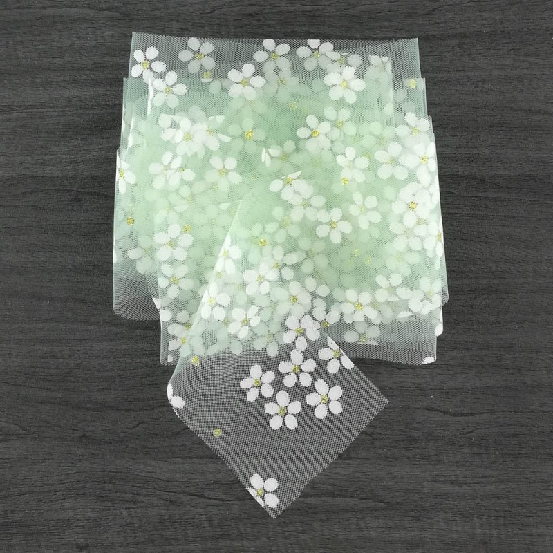 Tulle ribbon with daisies - mint