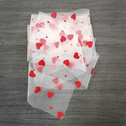 Tulle ribbon with velvet hearts - red