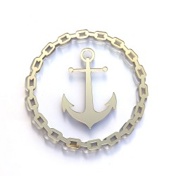 Shaker - Chain with anchor - gold mirror methacrylate