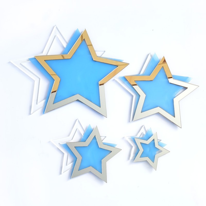 Set of 4 star shakers - gold mirror methacrylate