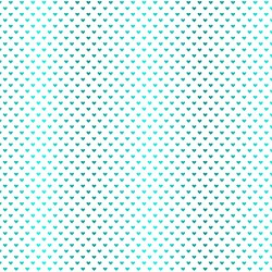 Turquoise foil Hearts - white