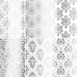 Set of 6 papers with Damask silver foil - white