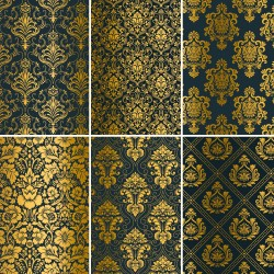Set of 6 papers with Damask Gold Foil - navy blue