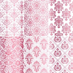 Set of 6 papers with Damask pink Foil - white
