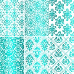 Set of 6 papers with Turquoise Damask Foil - white