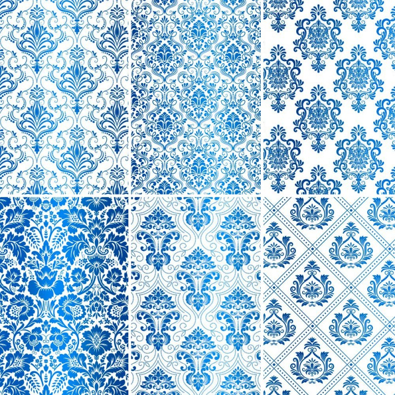 Set of 6 papers with blue Damask Foil - white