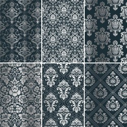 Set of 6 papers with Damask silver foil - navy blue