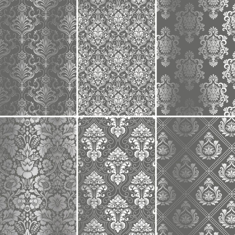 Set of 6 papers with Damask silver foil - gray