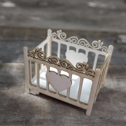 Crib with 3D heart