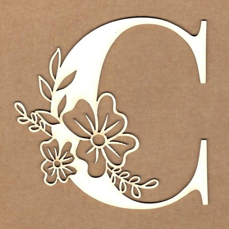 chipboard – Initial floral letter - C