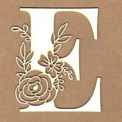chipboard – Initail floral letter - E