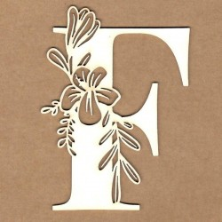 chipboard – Letra inicial floral - F