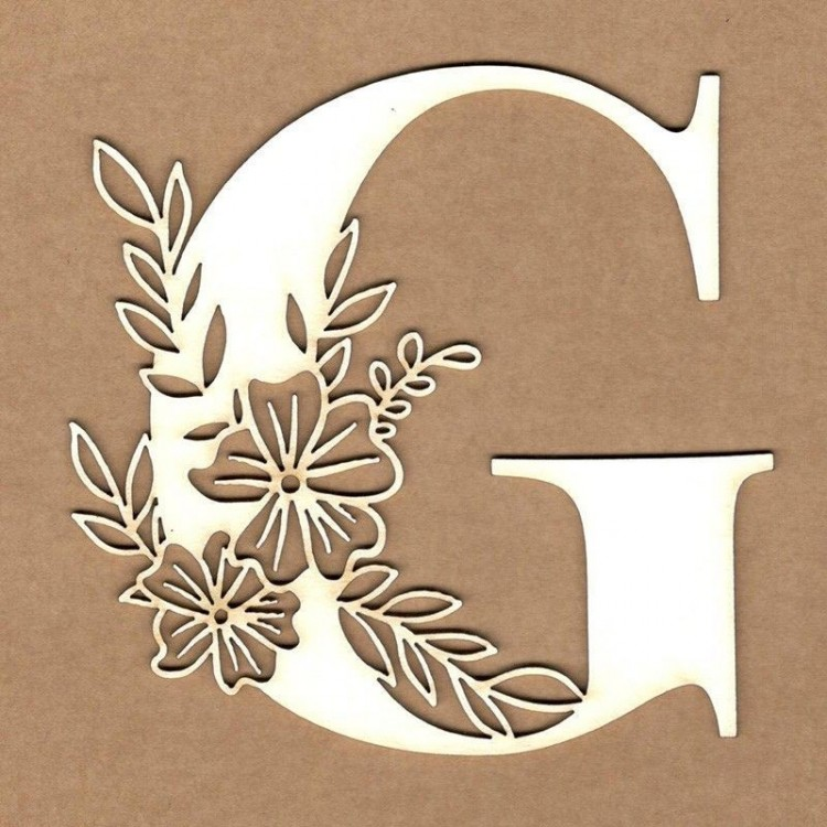 chipboard – Initial floral letter - G