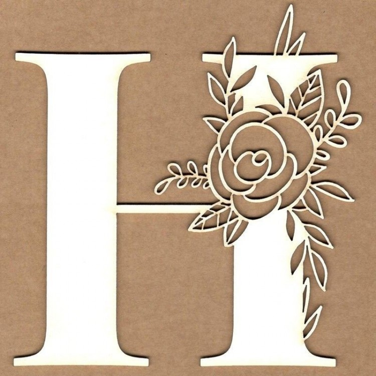 chipboard – Initial floral letter - H