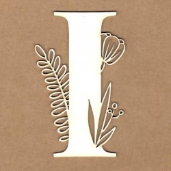 chipboard – Letra inicial floral - I