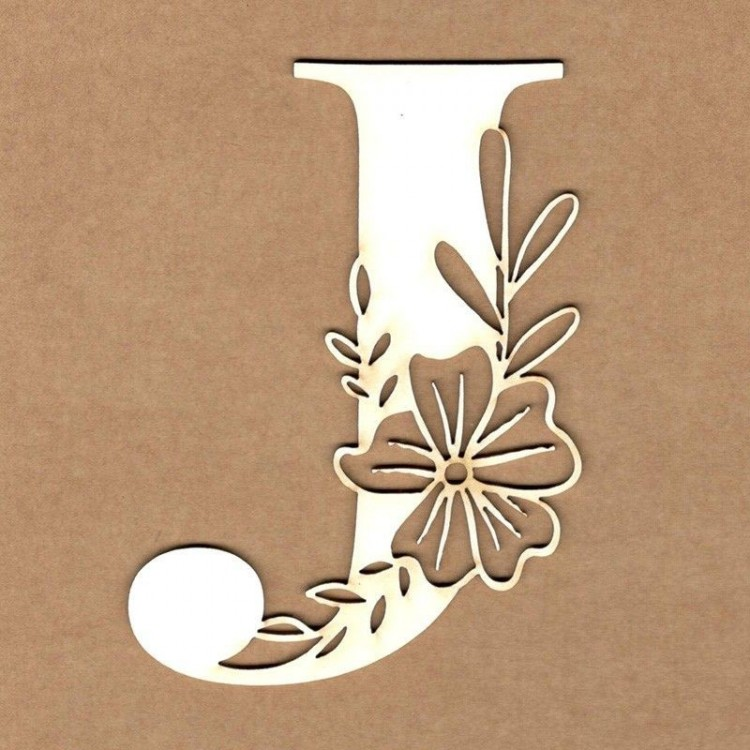 chipboard – Letra inicial floral - J