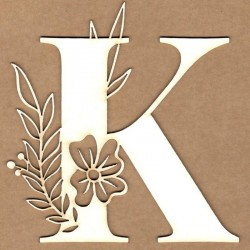 chipboard – Letra inicial floral - K
