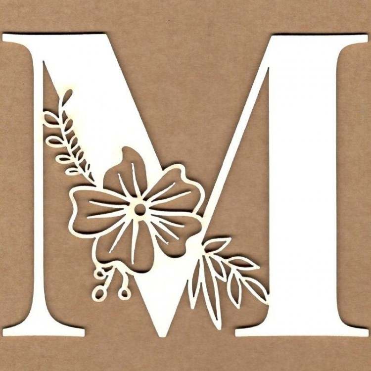 chipboard – Letra inicial floral - M
