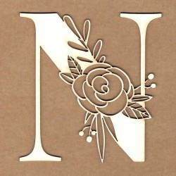 chipboard – Initial floral letter - N