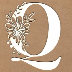 chipboard – Letra inicial floral - Q