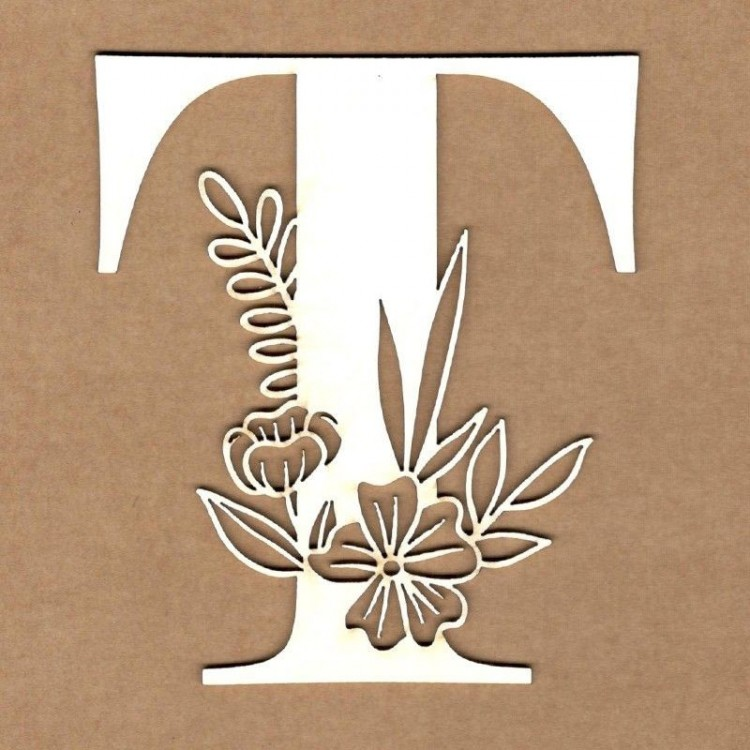 chipboard – Initial floral letter - T