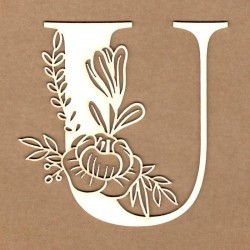 chipboard – Initial floral letter - U